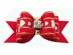 Dog Hair Bow - Red Color with Gold Accents and Crystal