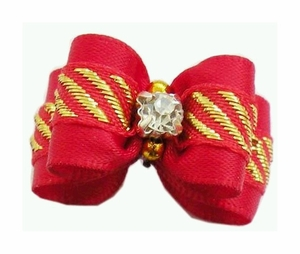 Dog Hair Bow - Red Color with Gold Crystal