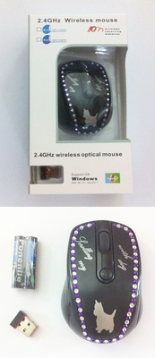 Dog Motif Crystal Wireless Computer Mouse
