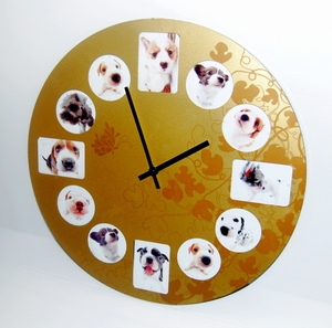 Doggie Photo Frame Wall Clock in Rich Gold color