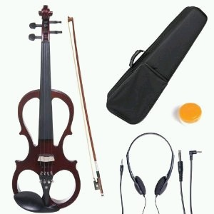 Electric Silent Violin by Cecilio (Full Size 4/4, CEVN-1NA, Solid Mahogany)