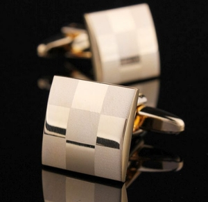 Gold Plated Checkers Cufflinks
