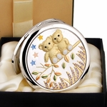 Golden Bear Couple Design - Compact Cosmetic Makeup Mirror