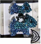 Hair Accessory (Claw Type)  with Blue Crystal Dog Motif Design