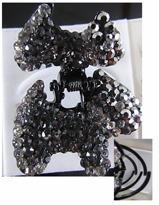 Hair Accessory (Claw Type)  with Greyish Black Crystal Dog Motif Design