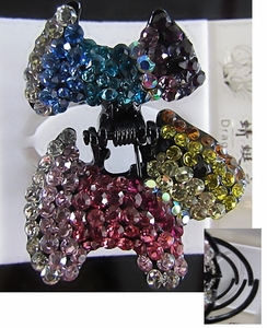 Hair Accessory (Claw Type)  with Multi-Colored Crystal Dog Motif Design