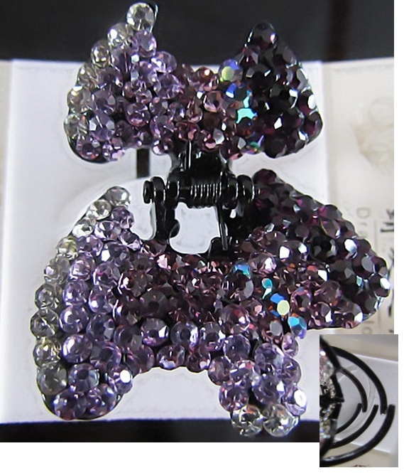 Hair Accessory (Claw Type) with Purple Crystal Dog Motif