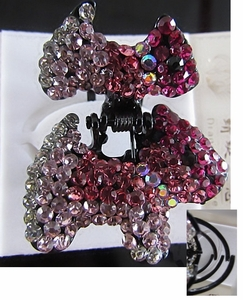 Hair Accessory (Claw Type)  with Red Crystal Dog Motif Design