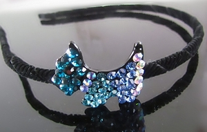 Hair Accessory (Hairband)  with Blue Crystal Dog Motif Design