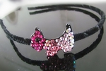 Hair Accessory (Hairband)  with Pinkish Red Crystals Dog Motif Design