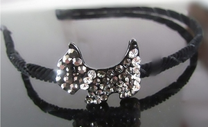 Hair Accessory (Hairband)  with Silver White Crystal Dog Motif Design