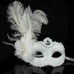 Halloween Mask - White Feather Masquerade Mask