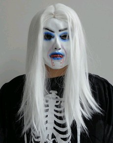 Halloween Mask - Witch/Demon Mask with Long White Hair