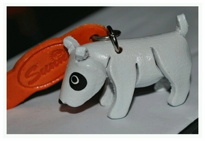 Hand Crafted Bull Terrier Leather Keychain