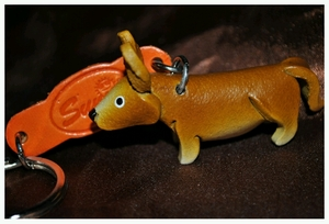Hand Crafted Corgi Leather Keychain