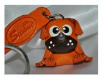 Hand Crafted Pug Leather Keychain
