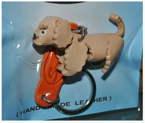 Hand Crafted Red Poodle Leather Keychain