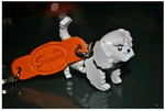 Hand Crafted White Poodle Leather Keychain