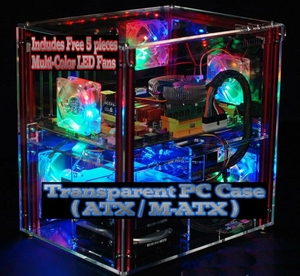 'iCase' Transparent PC Case (includes 5 LED Fans)