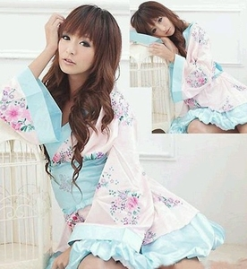 Japanese Kimono Sleeping Robe (Pink-Blue Color)