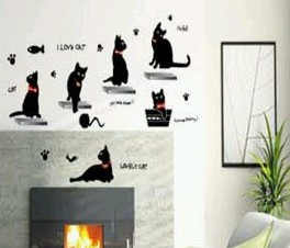 Lovely Blacks Cat - PVC Wall Decal Sticker