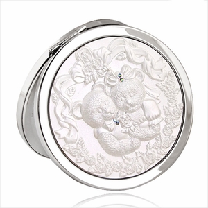 Loving Teddy Bears Silver Design - Compact Cosmetic Makeup Mirror