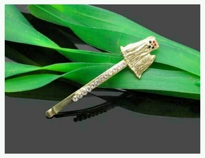 Maltese Hairpin studded Large Crystals with Gold Colored Plating