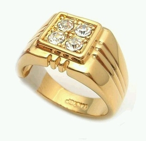 Men's CZ Gold Plated Ring (Premium Quality)