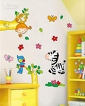 'Monkey, Zebra & Parrot' Kids Room Motif - PVC Wall Decal Sticker