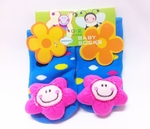 Non-Slip Blue Baby Socks (with Flower theme)