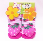 Non-Slip Pink Baby Socks (with Strawberry theme)