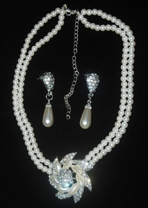 'Pearl-Crystal Rose' Theme Earring & Necklace Wedding Jewellery Set