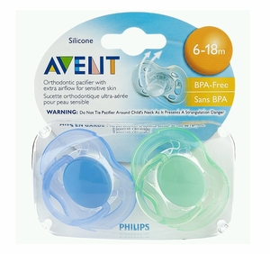 Philips AVENT Contemporary Freeflow 2-Pack Pacifier (for Infants 6-18 Months, BPA Free)