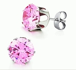 10mm Pink CZ Diamond Stud Earring (equivalent to 3.5 Carats)