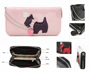 Pink Korean Style Wallet with Cute Dog Design