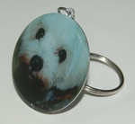Playful Maltese Dog Breed - Metallic Laminated Key Chain