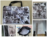 Polyester Recycle Bag with a Nostalgic Black & White Doggies Montage