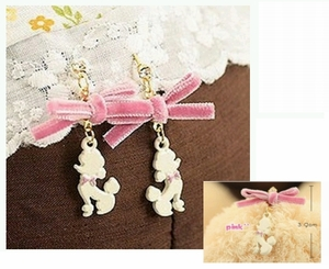Poodle Earrings with Pink Ribbons