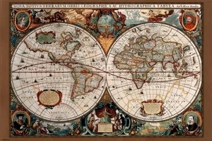 "Poster of 17th Century Vintage World Map (36"" by 24"")"
