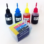 Refillable EPSON Printer Ink Cartridges Kit (Cartridge & Ink bottle)