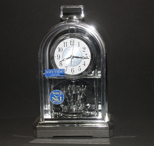 Rhythm Silver Standing Table Clock