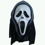 "Scary Ghost ""Scream"" Mask with Black Hood"