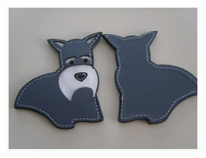 Schnauzer Leather Tag Keychain