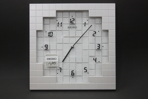 Seiko Wall Clock with Modern White Tiles Design