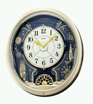 Seiko Wall Clock with Oval Blue Face & Motion/Light Displays