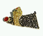 Shih Tzu Brooch covered with Multicolored Rhinestones with Gold Colored Plating