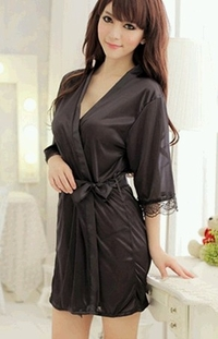 Silky Robe Sexy Lingerie (Black Color)
