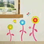 Smiling Flowers & Butterflies - PVC Wall Decal Sticker