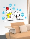 Snowman Dog Motif - PVC Wall Decal Sticker