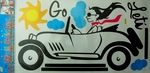 Stylish Lady in Fast Car - PVC Wall Decal Sticker